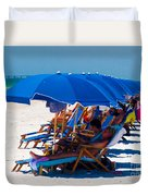 Beach Umbrellas By Darrell Hutto Duvet Cover