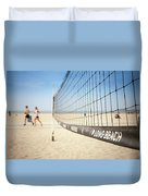 Beach Volleyball Net On The Sand At Long Beach, Ca Duvet Cover