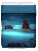Beach With Sea Stacks In Moody Lighting Duvet Cover
