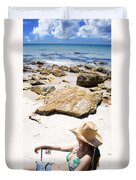 Beach Woman Duvet Cover by Jorgo Photography - Wall Art Gallery
