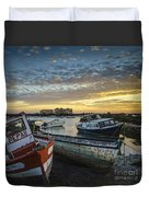 Beached Boats On Trocadero Pipe Puerto Real Cadiz Spain Duvet Cover