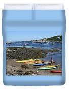 Beached Kayaks At Rockport Harbor Duvet Cover