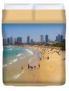 Beachfront In Tel Aviv  Duvet Cover