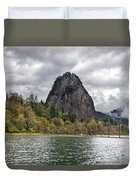 Beacon Rock At Columbia River Gorge Duvet Cover
