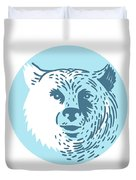 Bear Head Smiling Circle Drawing Duvet Cover