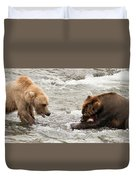 Bear Watches Another Eat Salmon In River Duvet Cover