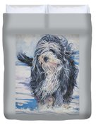 Bearded Collie In Snow Duvet Cover