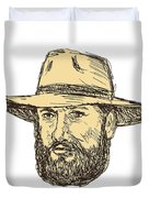 Bearded Cowboy Head Drawing Duvet Cover