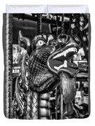 Bearded Dragon Ride Black And White Duvet Cover