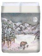 Bears In Winter Duvet Cover