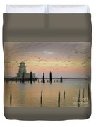 Beau Rivage Lighthouse And Marina Duvet Cover