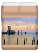 Beau Rivage Marina And Lighthouse Duvet Cover