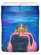 Beauties On The Rock Duvet Cover