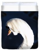 Beautiful Abstract Surreal White Swan Looking Away Duvet Cover