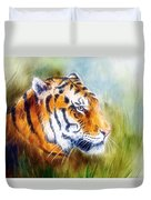 Beautiful Airbrush Painting Of A Mighty Fierce Tiger Head On A Soft Toned Abstract Gres Background  Duvet Cover