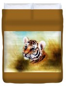 Beautiful Airbrush Painting Of An Adorable Baby Tiger Head Looking Out From A Green Grass Surroundin Duvet Cover