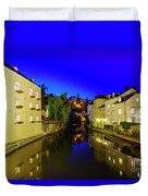Beautiful Alzette River Side Scene On Road Rue Munster Duvet Cover