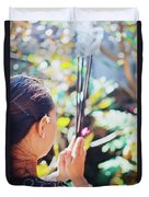 Beautiful Asian Woman Holding Incense Sticks During Hindu Ceremony In Bali, Indonesia Duvet Cover