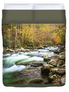 Beautiful Autumn Colors Little Pigeon River Smoky Mountains Duvet Cover