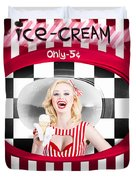 Beautiful Blonde Woman Serving Ice Cream Duvet Cover