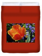 Beautiful Blooming Orange And Red Tulip Flower Blossom Duvet Cover