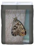 Beautiful Brown Morpho Butterfly Resting In A Butterfly Garden  Duvet Cover