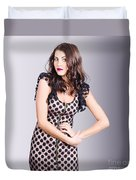 Beautiful Brunette Girl Wearing Retro Zipper Dress Duvet Cover