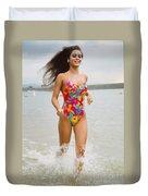 Beautiful Brunette Model On The Beach Duvet Cover