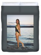 Beautiful Brunette On The Beach Duvet Cover