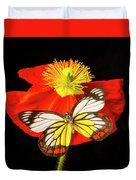 Beautiful Butterfly On Poppy Duvet Cover