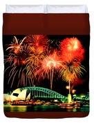 Beautiful Colorful Holiday Fireworks 2 Duvet Cover