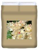 Beautiful Creamy White Pink Rhodies Floral Garden Baslee Troutman Duvet Cover