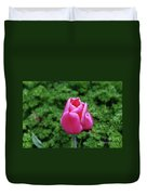Beautiful Dark Pink Tulip Flower Blossom In A Garden Duvet Cover
