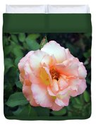 Beautiful Delicate Pink Rose On Green Leaves Background. Duvet Cover
