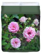 Beautiful Delicate Pink Roses On Green Leaves Background. Duvet Cover