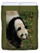 Beautiful Giant Panda Bear Walking Through A Field Duvet Cover