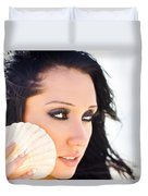 Beautiful Girl Holding A Cockle Shell Duvet Cover