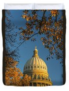 Beautiful Idaho State Capitol In Autumn Morning Duvet Cover