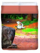 Beautiful Moment With A Bird Take Off , Wall Frame, Art Duvet Cover