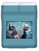 Beautiful Navy Pinup Girls On Marine Background Duvet Cover