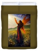 Beautiful Painting Oil On Canvas Of A Fairy Woman In A Historic Dress Standing In Rays Of Sunlight A Duvet Cover
