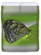 Beautiful Paper Kite Butterfly On A Green Leaf Duvet Cover