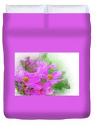 Beautiful Pink Flower Blooming For Background. Duvet Cover