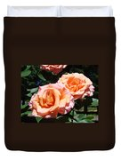 Beautiful Pink Orange Rose Flowers Garden Baslee Troutman  Duvet Cover