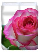 Beautiful Pink Rose With Leaves On A Wite Background. Duvet Cover