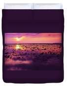 Beautiful Purple Sunset During Tide Shows Up Rocky Beach Duvet Cover