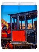 Beautiful Red Calico Train Duvet Cover