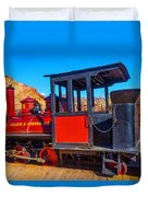 Beautiful Red Calico Train Duvet Cover