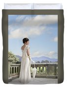 Beautiful Regency Woman Admiring The View From The Terrace Duvet Cover