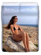 Beautiful Sexy Woman In Bikini Relaxing On A Rocky Seashore Duvet Cover
